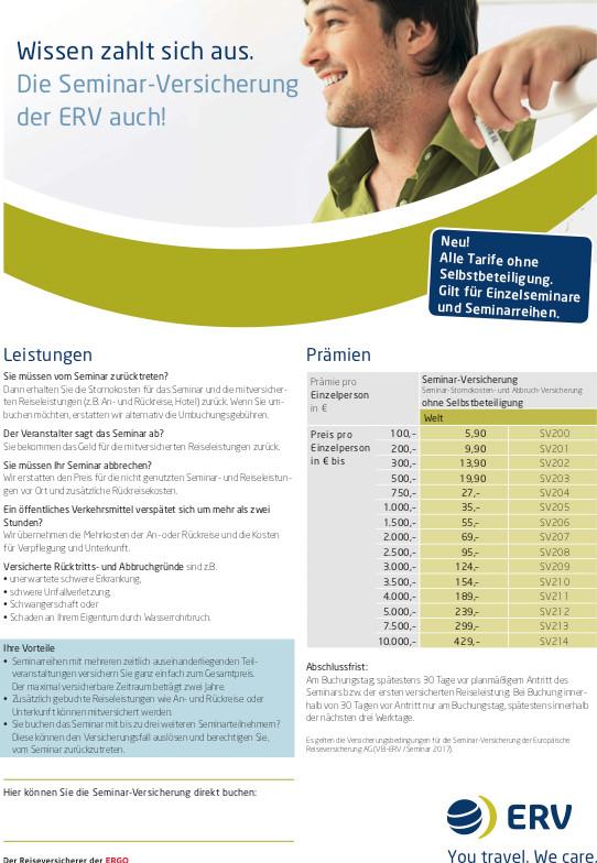 Produktinformationsblatt Seminarstornoversicherung